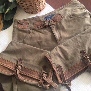 RALPH LAUREN Blue Label Leather/Canvas Field Pants